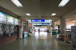 The ticket counter inside the Yawatahama ferry terminal