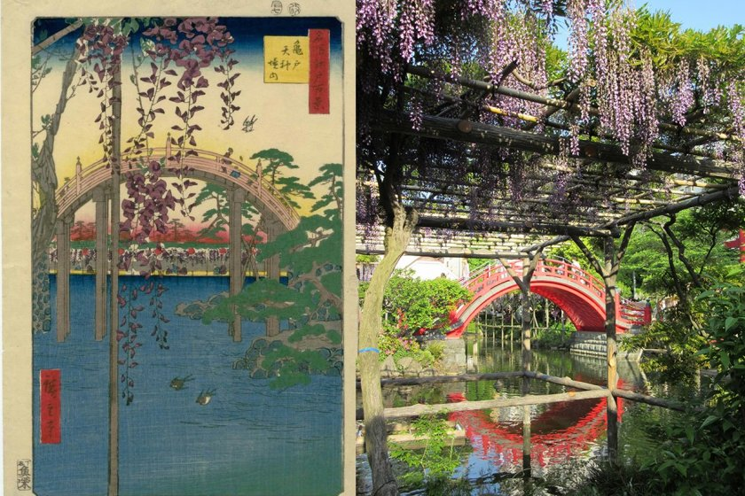 Hokusai print and my photo of Kameido Tenjin