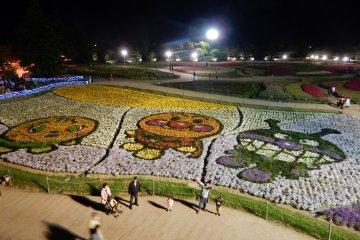 Flower carpets form Anpanman characters