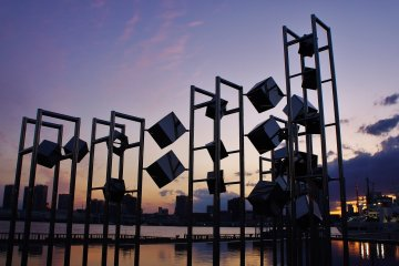 Modern art with the sunset in the backdrop at the Harumi Passenger Terminal