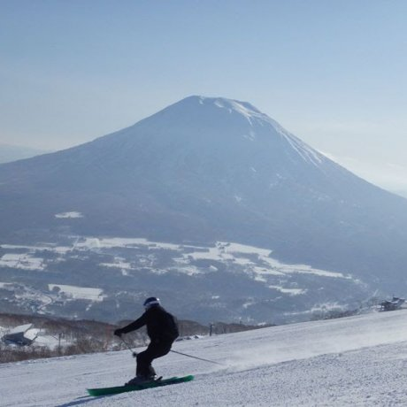 Snowboarding on Mount Yotei