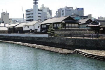 A view of Dejima from the streetcar line
