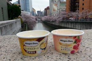 Ice cream along Meguro river, Tokyo