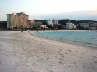 A number of hotels and ryokans line the beachfront