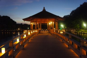 Lit walkway around the Ukimido Pavilion