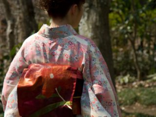 The Kimono pattern of the Plum Blossom Ambassadors matches the season