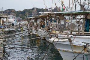 Kapal penangkap ikan di pelabuhan, tepat di sebelah kakigoya