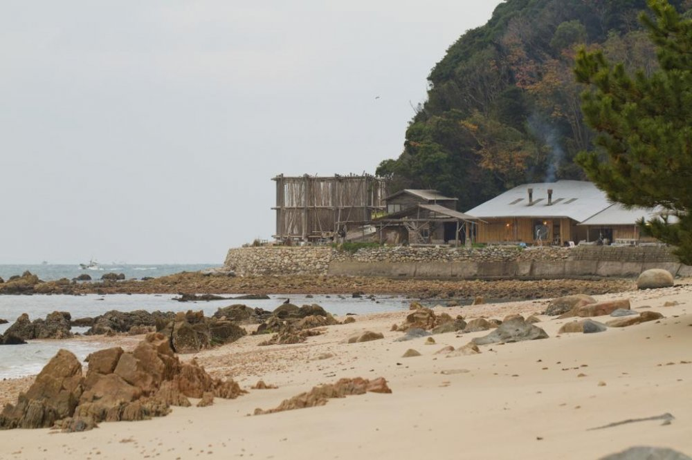 View from the beach approaching the saltworks