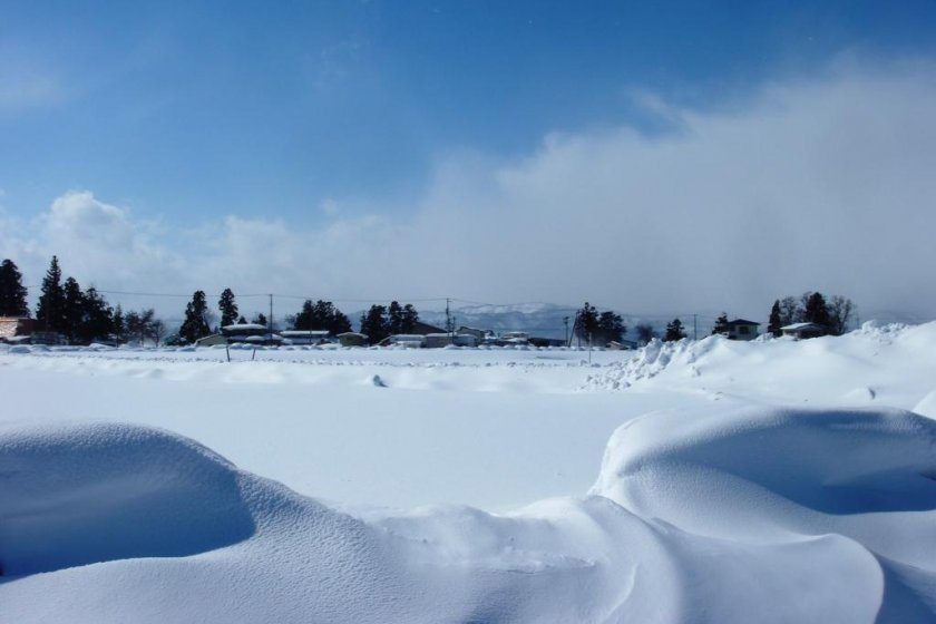 Snowy landscape near Iide Town in February
