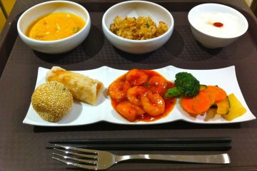 My selection from WORLD KITCHEN. Thai red curry, fried rice, shrimp rice roll, almond jelly, red bean sesame ball....