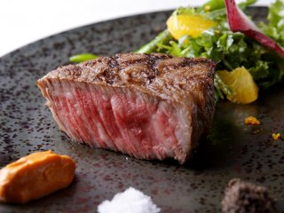 TOKYO COWBOY Wagyu Beef with Orange-Arugula Salad, Romesco Sauce