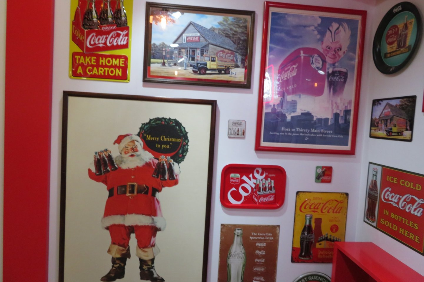 Display of Old Coca Cola Signs