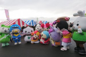 Mascots gathering for a photo