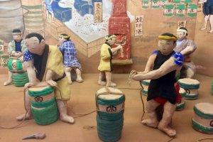 Diorama depicting soy sauce brewing in Edo Period Noda City