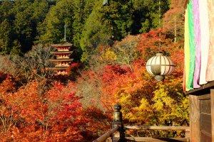 Pagode dans les feuillages d'automne