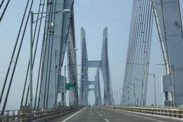 a view driving over the bridge