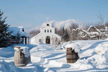 Vineyard Hilltop Chapel in winter