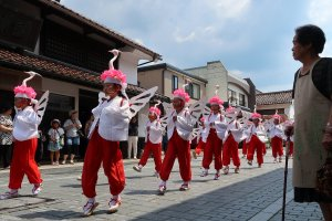 Kosagi: Elementary school students dress up and dance a cuter version of the Heron dance