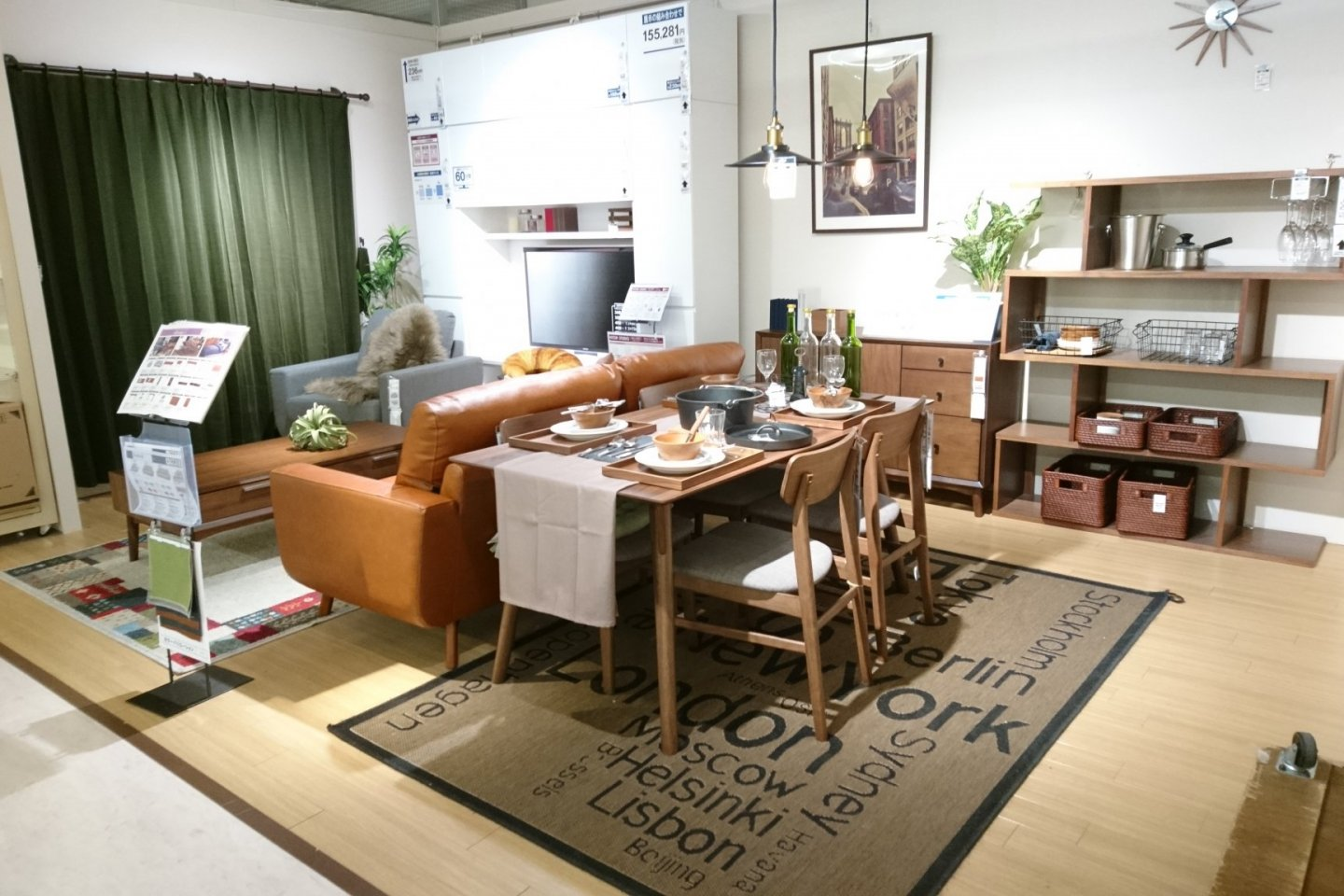 A mock-up living room and dining table