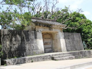 The stone gate as seen from Shuri Castle