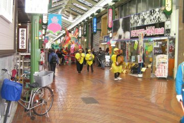 Parades are common along Omotecho Shopping Street