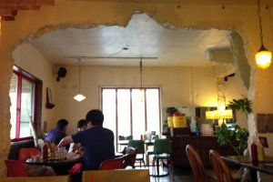 The walls that gave way to create more dining space adds to the unique atmosphere at Gordie's