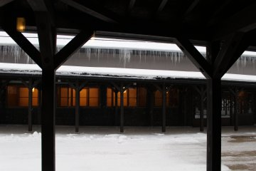 Gangi wooden walkways with icicle-lined roofs