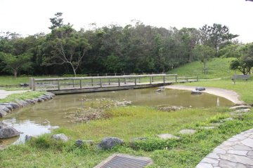 <p>There&#39;s a quaint little pond with a bridge across it that is fun to explore around</p>