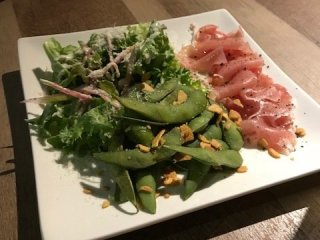 Tasty smoked salmon with salad and edamame beans