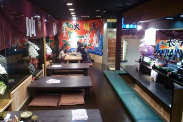 The colorful interior of Okaeri