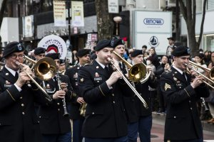The US Army Japan Band was one of several marching bands that put on a show for onlookers