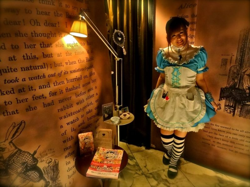 """Welcome to """"Alice's Adventures in Wonderland"""" restaurant! Waitresses are fully clad in Alice's signature outfit in Tokyo fashion: a white frilly apron over a light blue, knee length dress."""