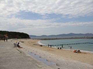 Uken Beach is surrounded by Okinawa's coastline and several islands in Kinbo Bay