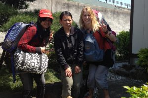 Outside the guesthouse with Shiori-san (centre), the owner.
