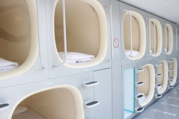 The inside of a capsule hotel