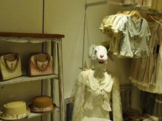 Shop with rabbit mannequins