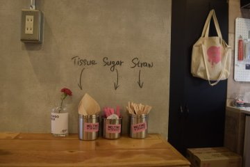 Even the napkins, sugar and straw packets are set up in a fun way!