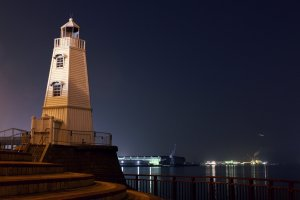 Sakai Lighthouse at night