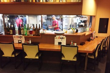 Watch the action in the kitchen from the counter seats