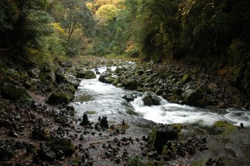 River gorge with cairns