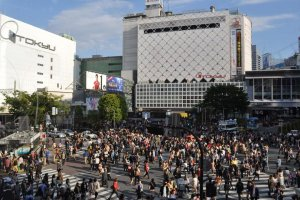 The famous scramble crossing in Shibuya facing the train station