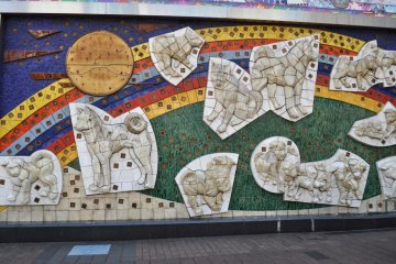 <p>The Hachiko mural on the Japan Rail Station wall</p>