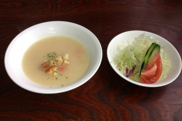 Soup and salad are served with all entrees