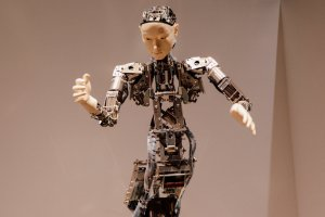 A close-up of one of the androids on display.