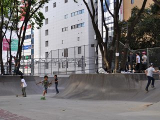 The skatepark is used by people of all ages