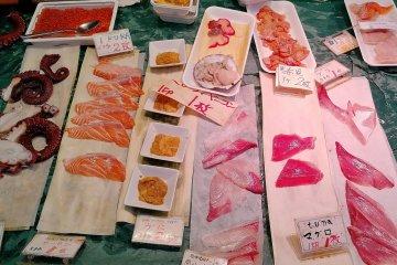 即食份量的生魚片