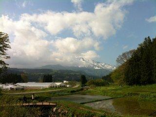 Trên đường quay trở lại bãi đỗ xe, tôi thoáng thấy núi Chokai ở phía xa