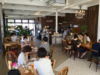 Groovy space. Almost all items used at the cafe are on sale, from designer plants to furniture to ceramic ware.