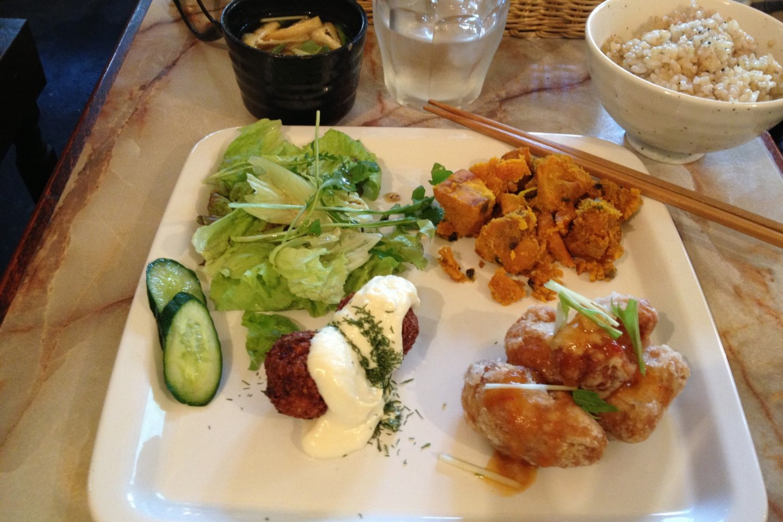 Lunch set with fried soy balls, kabocha(squash)salad and falafel