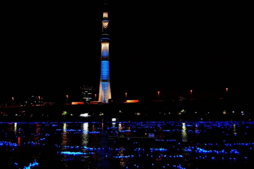 Tokyo Sky Tree and the Sumida River bathed in blue light